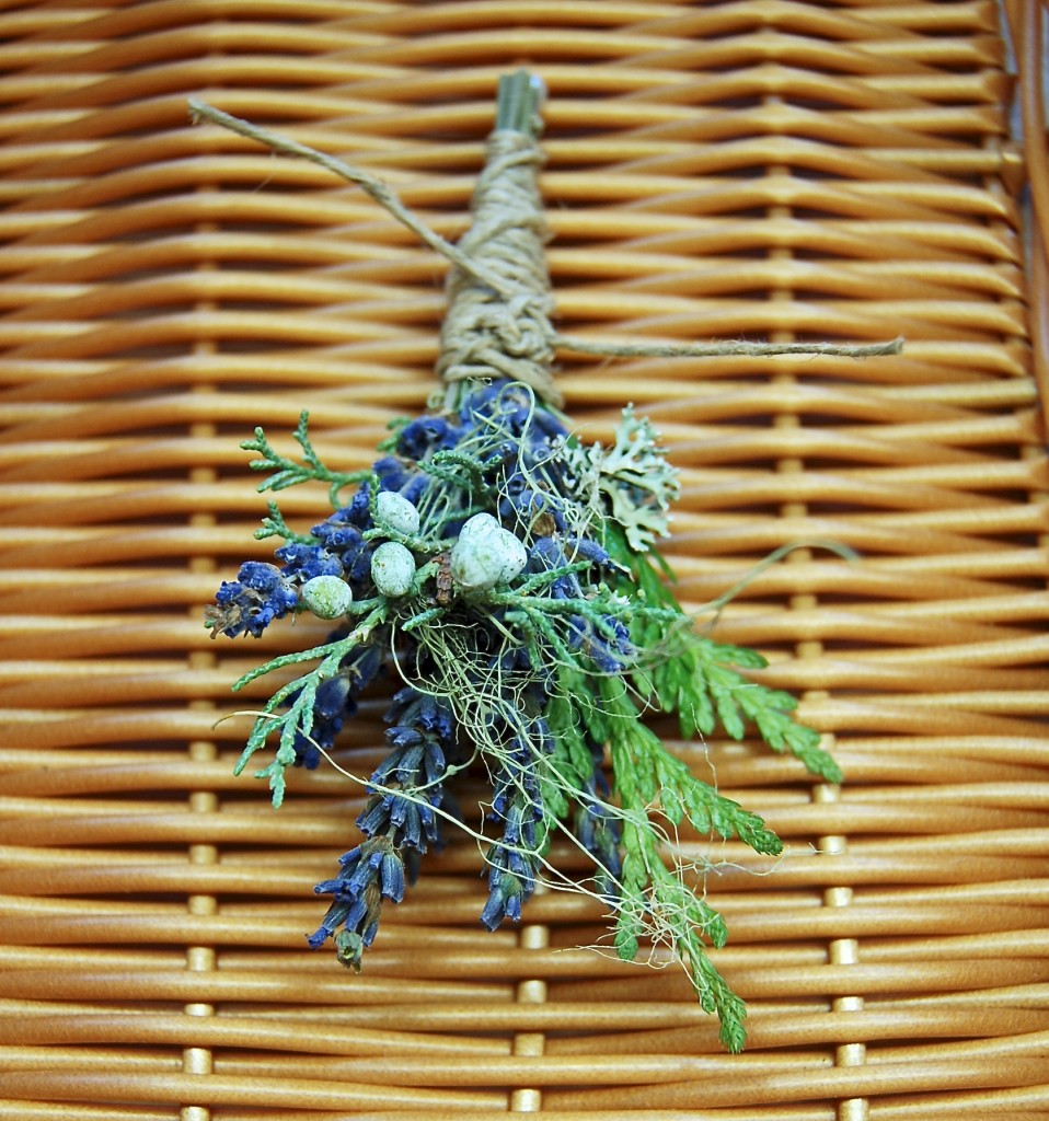 lavender and greenery winter boutonniere lavender cedar juniper lichens hemp twine